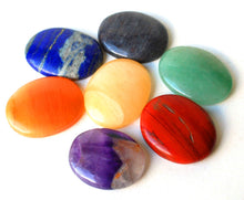 Load image into Gallery viewer, Set of Seven Crystal Chakra Healing Palm Stones - Krystal Gifts UK