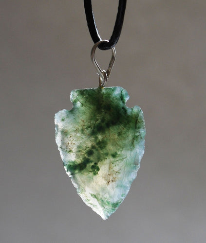 Moss Agate Crystal Arrowhead Pendant Gift Wrapped - Krystal Gifts UK