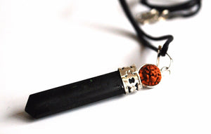Black Tourmaline Crystal Stone Pendant Necklace With Rudraksha