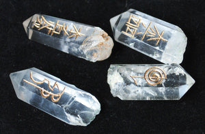 Set of Four Clear Quartz Crystal Points Engraved With Reiki Symbols - Krystal Gifts UK