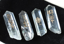 Load image into Gallery viewer, Set of Four Clear Quartz Crystal Points Engraved With Reiki Symbols - Krystal Gifts UK