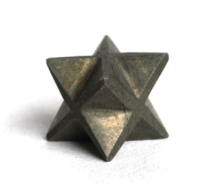 "Pyrite ""Fools Gold"" Crystal Stone Hand Cut Merkaba Star - Krystal Gifts UK"