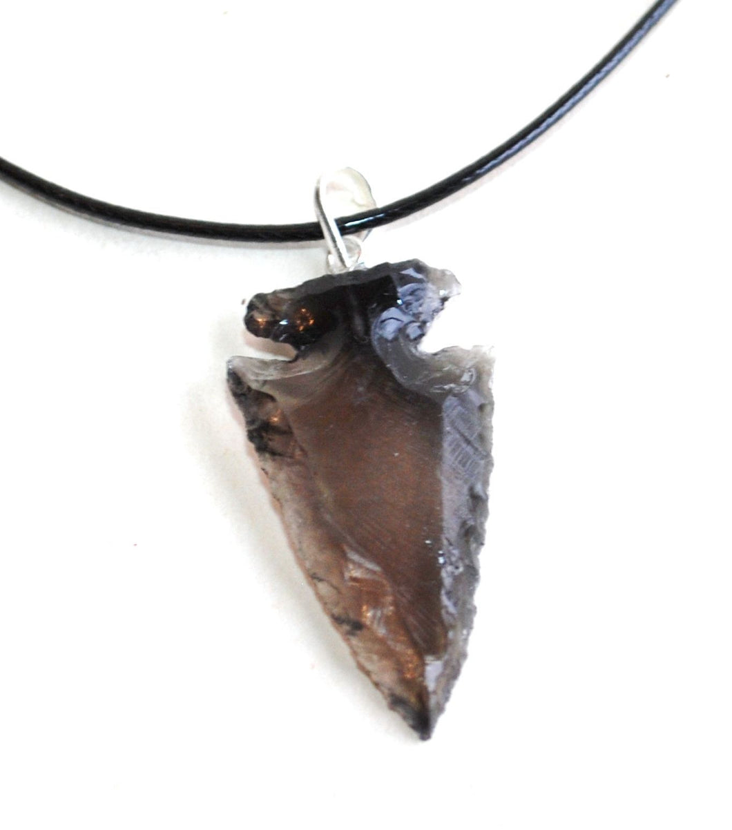 Black Obsidian Crystal Arrowhead Pendant (Dragon Glass) - Krystal Gifts UK