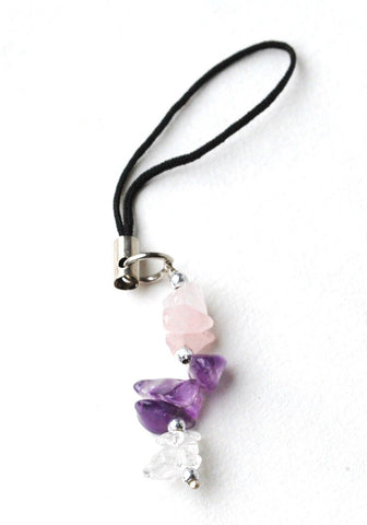 Amethyst / Rose Quartz / Clear Quartz Gem Stone Chip Mobile / Key / Bag Charm Gift Wrapped - Krystal Gifts UK