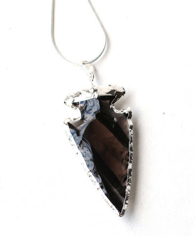 Electroplated Black Obsidian Crystal Arrowhead Pendant (Dragon Glass) - Krystal Gifts UK