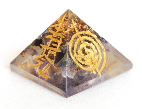 Amethyst Crystal Orgone Engraved Pyramid - Krystal Gifts UK