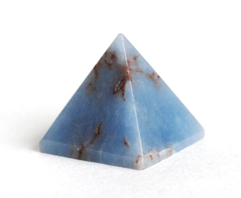 Angelite Crystal Stone Pyramid Natural Reiki Healing Energy Charged - Krystal Gifts UK