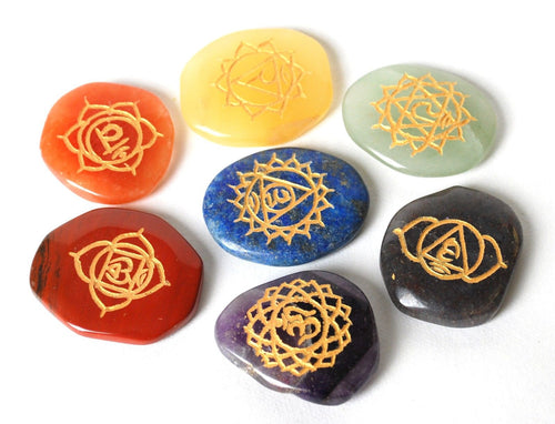 Set of Seven Chakra Healing Crystal Palm Stones, Hand Engraved With Mandala Chakra Symbols - Krystal Gifts UK