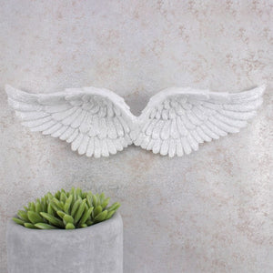New! Sparkly White Hanging Angel Wings Beautiful Detailed Resin Hanging Decoration Gift