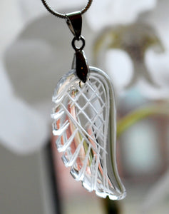 Clear Quartz Crystal Stone Angel Wing Pendant Inc Silver Plated Chain