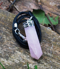 Load image into Gallery viewer, New! Natural Rose Quartz Faceted Crystal Stone Pendant And Cord Necklace