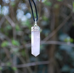 New! Natural Rose Quartz Faceted Crystal Stone Pendant And Cord Necklace