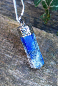 Lapis Lazuli Natural Crystal Faceted & Polished Natural Crystal Pendant Necklace Inc Chain