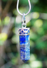 Load image into Gallery viewer, Lapis Lazuli Natural Crystal Faceted & Polished Natural Crystal Pendant Necklace Inc Chain