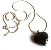 Load image into Gallery viewer, Hematite Crystal Stone Heart Pendant Inc Silver Plated Snake Chain