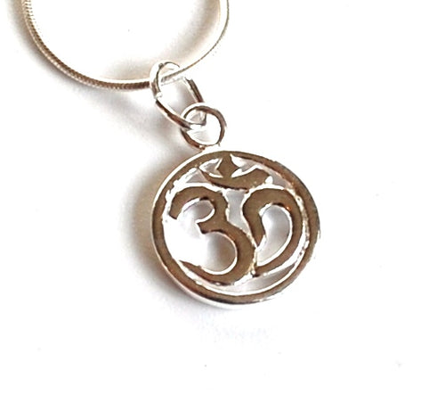 OM Symbol Sterling Silver Pendant & Necklace