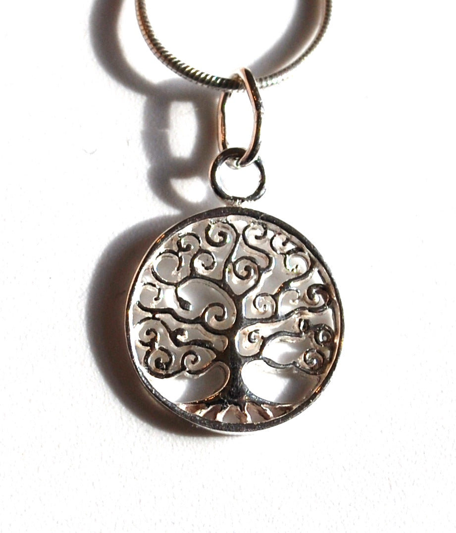 Tree Of Life Small Sterling 925 Silver Pendant & Necklace Chain