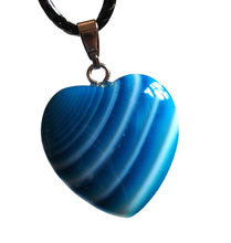 Load image into Gallery viewer, Blue Onyx Crystal Stone Heart Pendant & Cord