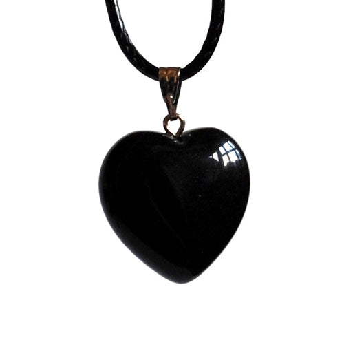 Black Obsidian Polished Crystal Stone Heart Pendant Including 18