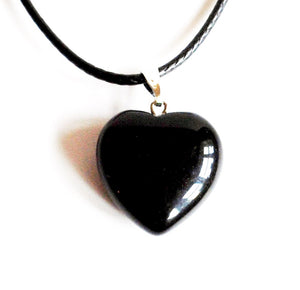 "Black Obsidian Polished Crystal Stone Heart Pendant Including 18"" Cord"