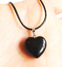 "Load image into Gallery viewer, Black Obsidian Polished Crystal Stone Heart Pendant Including 18"" Cord"