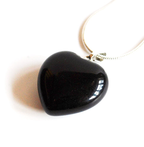 Black Obsidian Crystal Stone Heart Pendant Inc Silver Chain