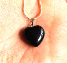 Load image into Gallery viewer, Black Obsidian Crystal Stone Heart Pendant Inc Silver Chain