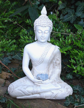 Load image into Gallery viewer, New! Large Shabby Chic Meditation White Buddha & Natural Celestite Crystal Raw Piece