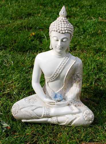 Sale! Large Shabby Chic Meditation White Buddha & Natural Celestite Crystal Raw Piece