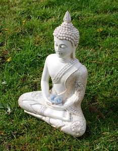 New! Large Shabby Chic Meditation White Buddha & Natural Celestite Crystal Raw Piece