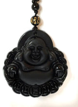 Load image into Gallery viewer, Black Obsidian Crystal Healing Laughing Buddha Pendant - Krystal Gifts UK