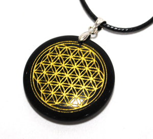 New! Black Obsidian Natural Crystal Polished 'Flower Of Life' Pendant & Cord Necklace