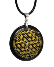 Load image into Gallery viewer, New! Black Obsidian Natural Crystal Polished 'Flower Of Life' Pendant & Cord Necklace
