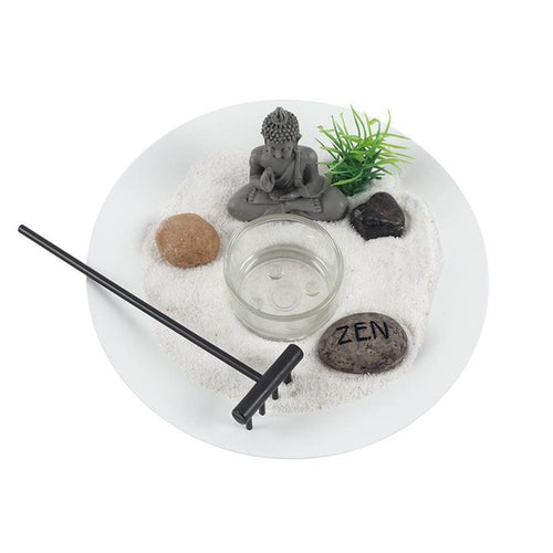 New! Buddha Zen Garden Relaxation Set Including Lepidolite Crystal Chunk