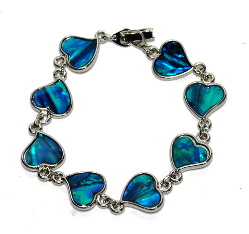 New! Blue Abalone Shell Natural Hearts Crystal Bracelet