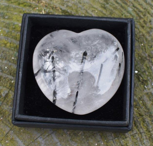 New! Natural Tourmalated Quartz Polished Crystal Heart Stone Gift Wrapped With Benefits Tag