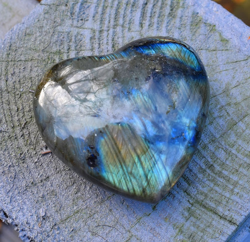 New! Large Labradorite Natural & Unique Crystal Stone Heart 80g Fully Polished
