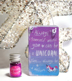 """Always be a Unicorn"" Metal Hanging Sign & Unicorn Glitter 'Food' Gift Set - Krystal Gifts UK"