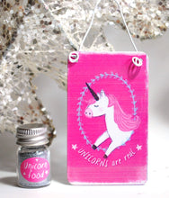 "Load image into Gallery viewer, ""Unicorns Are Real"" Metal Hanging Sign & Unicorn Glitter 'Food' Gift Set - Reiju"