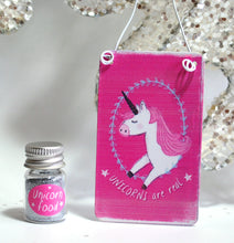 "Load image into Gallery viewer, ""Unicorns Are Real"" Metal Hanging Sign & Unicorn Glitter 'Food' Gift Set - Krystal Gifts UK"