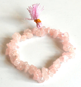 Rose Quartz Crystal Stone Chips Power Bracelet