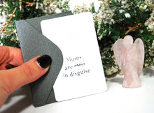 Load image into Gallery viewer, New! 'Mums Are Angels In Disguise' Natural Pink Rose Quartz Love Healing Crystal Stone Angel & Keepsake Card