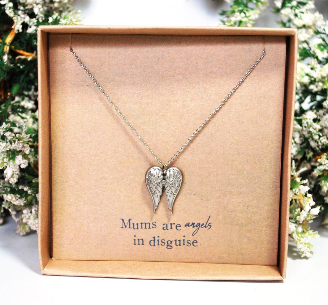 New! 'Mums Are Angels In Disguise' Silver (Nickle Free) Angel Wings Pendant Inc 18
