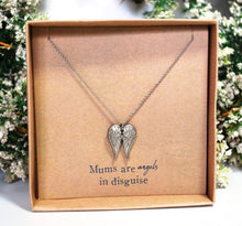 "Load image into Gallery viewer, New! 'Mums Are Angels In Disguise' Silver (Nickle Free) Angel Wings Pendant Inc 18"" Necklace"