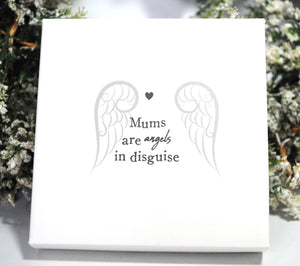 "New! 'Mums Are Angels In Disguise' Silver (Nickle Free) Angel Wings Pendant Inc 18"" Necklace"