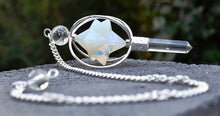 Load image into Gallery viewer, New! Natural Opalite & Clear Quartz Crystal 'Spinning' Merkaba Dowsing Pendulum Point