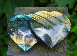 New! Large Double Labradorite Natural & Unique Crystal Stone Heart Fully Polished