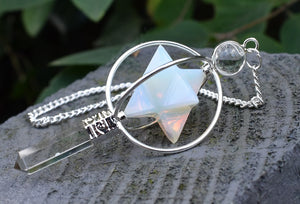 New! Natural Opalite & Clear Quartz Crystal 'Spinning' Merkaba Dowsing Pendulum Point