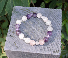 Load image into Gallery viewer, New! Natural Rose Quartz, Amethyst & Clear Quartz (RAC) Crystal Stone Beads Bracelet