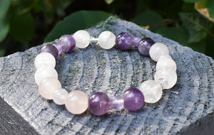New! Natural Rose Quartz, Amethyst & Clear Quartz (RAC) Crystal Stone Beads Bracelet